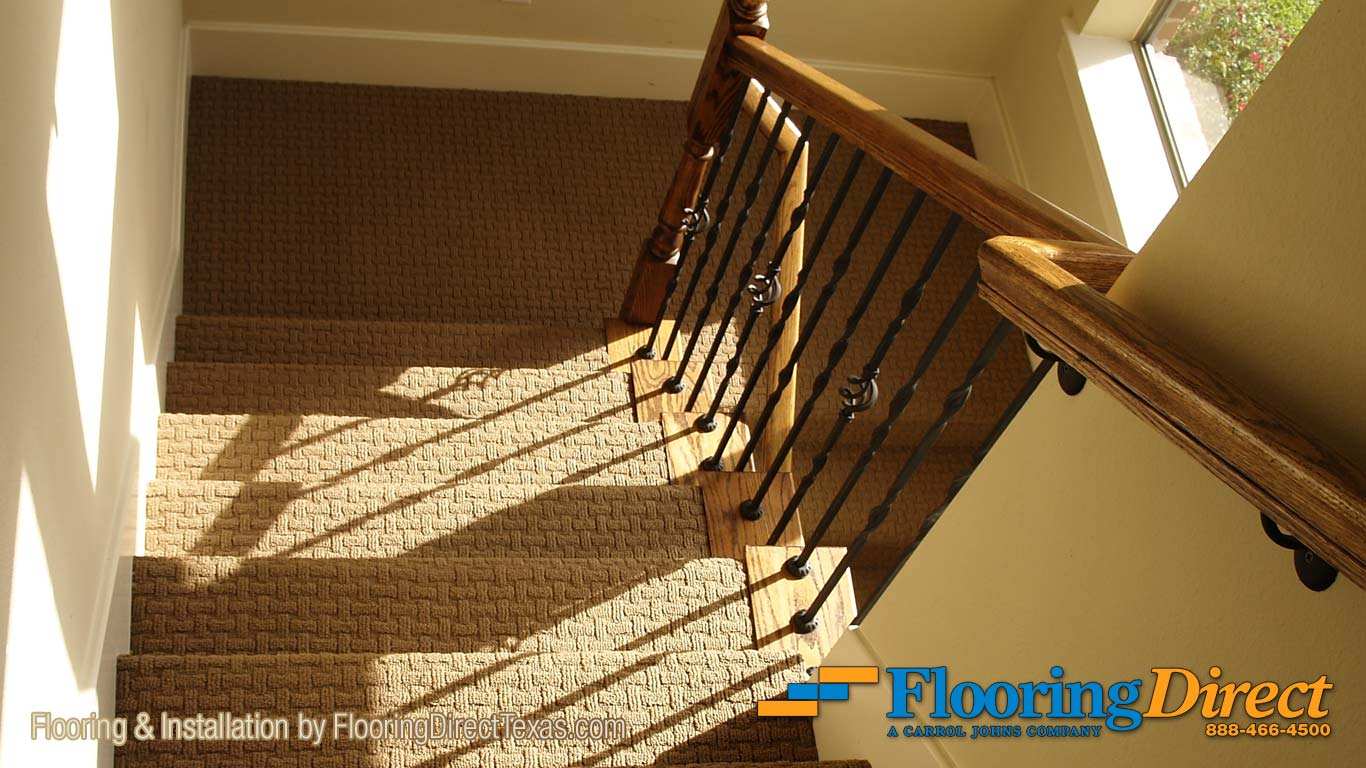 This Carpet Installation runs up the back stair and continuously through the upstairs family room and hallways.