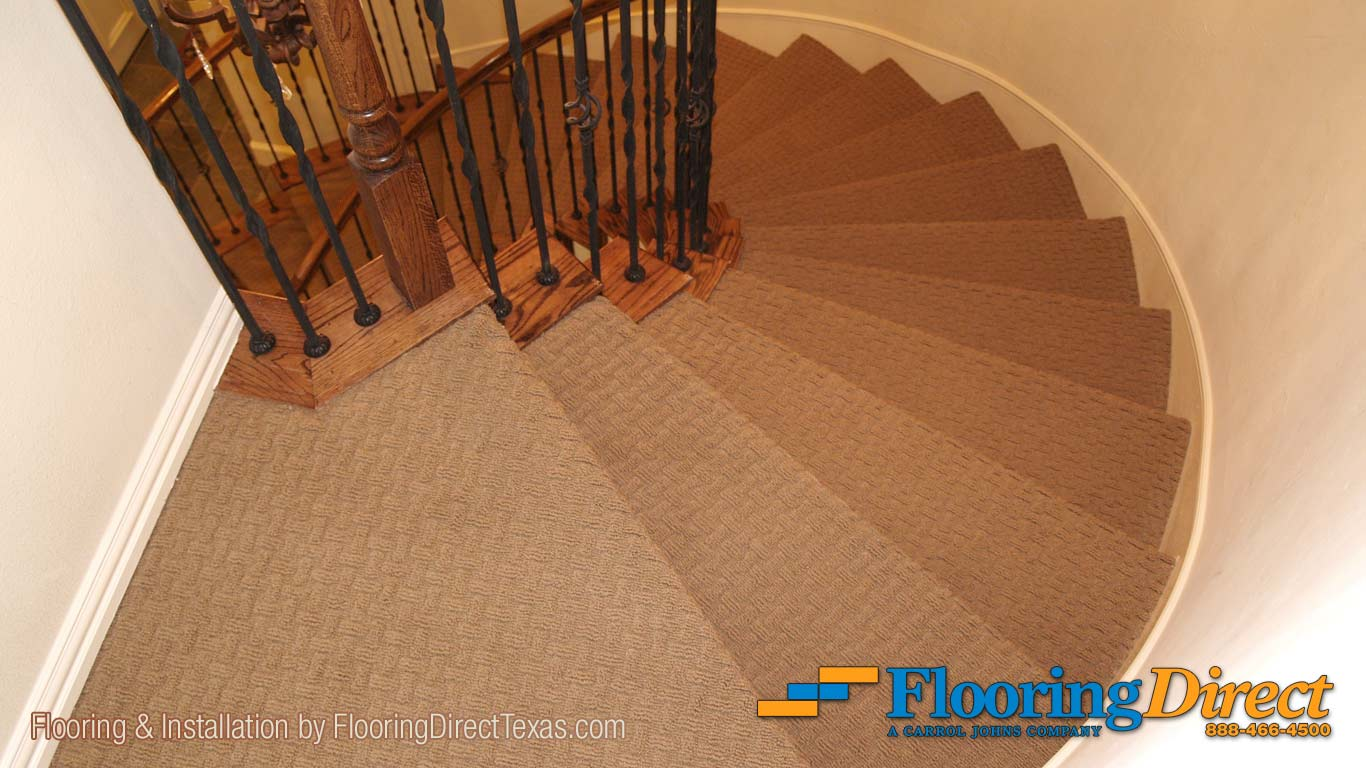 This Shaw Carpet Flooring runs continuously out the front Family Room entrance onto the landing of the spiral staircase.