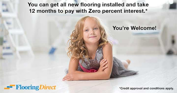Get all new flooring installed zero percent interest.