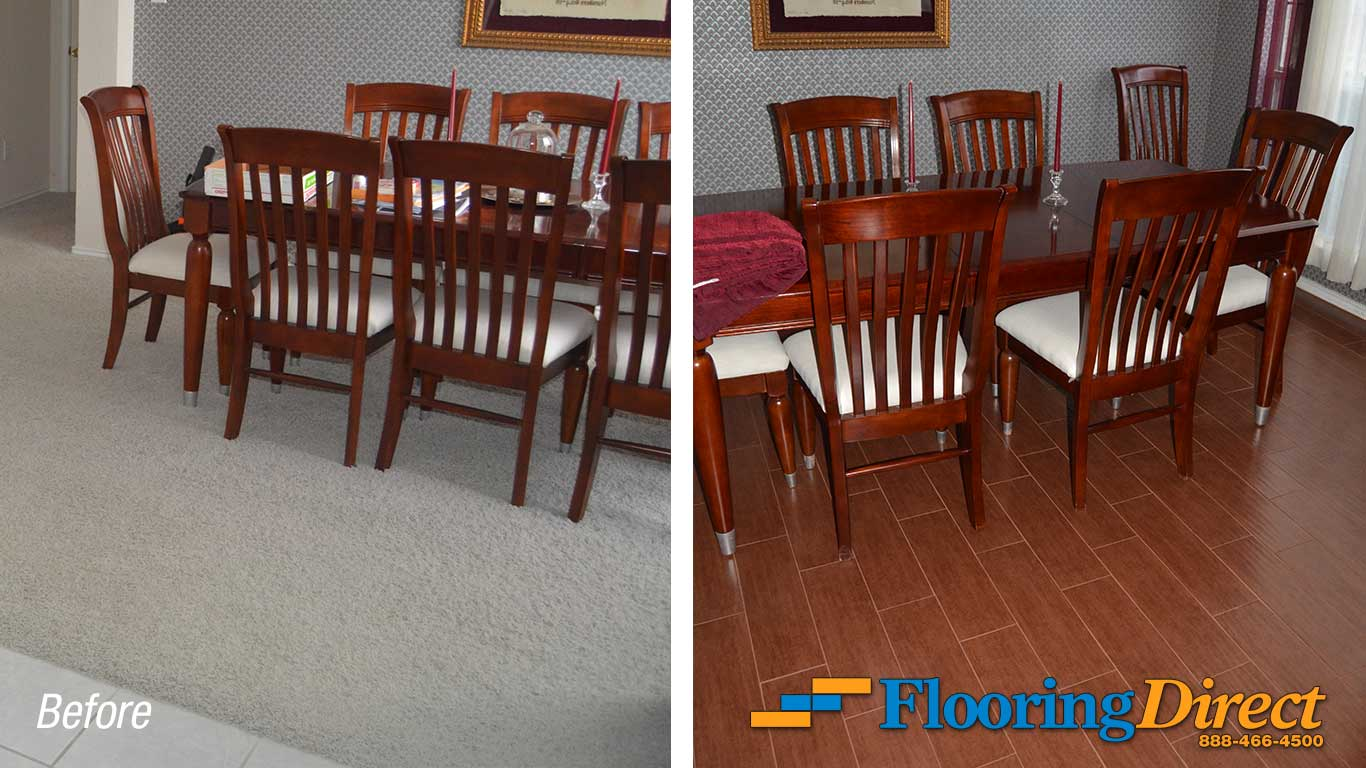 Wood-Look Tile Flooring Installation Dining Room By Flooring Direct