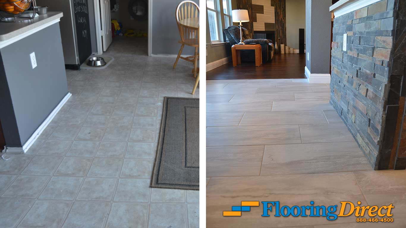 Old vinyl flooring vs new wood look tile flooring for Direct flooring