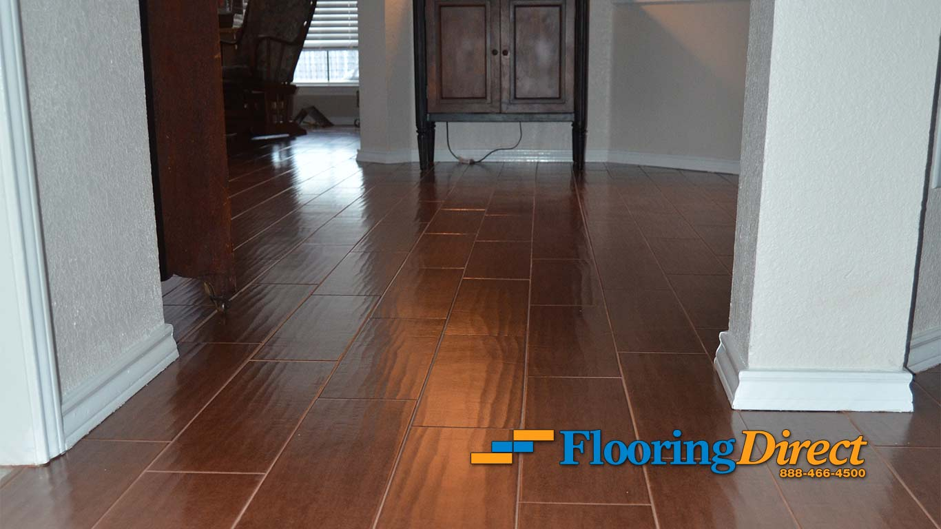 Wood-look Tile Flooring Installed By Flooring Direct In Richardson Texas Hallway