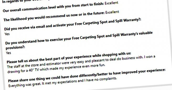 Excellent Review from our TV Winning Customer