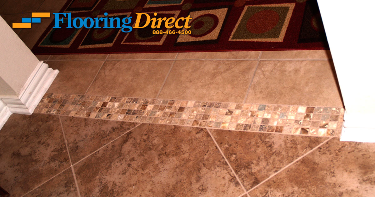 Ceramic Tile Installation With Mosaic Transitions Flooring Direct - Ceramic tiles mosaics for sale