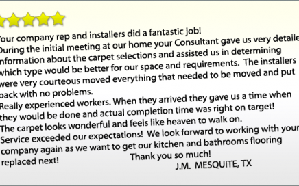 Flooring Direct 5-Star Review Company And Installers Fantastic